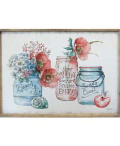 Flowers in Jars Wooden Framed Canvas Print