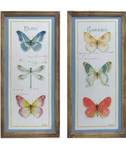 Set of 2 Butterfly and Dragonfly Wooden Framed Canvas Prints