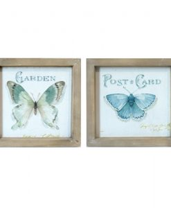 Set of 2 Square Butterfly Wooden Framed Canvas Prints