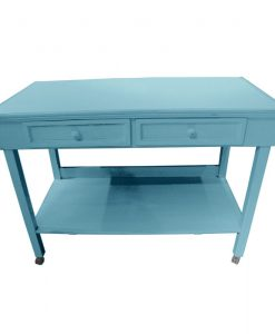 Powder Blue 2 Drawer Table on Casters