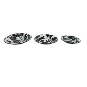 Set of 3 Black & White Enamel Marble Effect Bowls