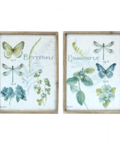 Wooden Framed Butterfly and Dragonfly Canvas Prints