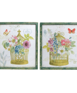 Floral Birdcage Wooden Framed Canvas Prints - Set of 2