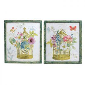 Floral Birdcage Wooden Framed Canvas Prints - Set of 2