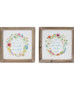 Garland Of Flowers Wooden Framed Canvas Prints – Set of 2