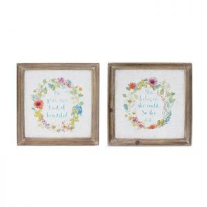 Garland Of Flowers Wooden Framed Canvas Prints – Set of 2