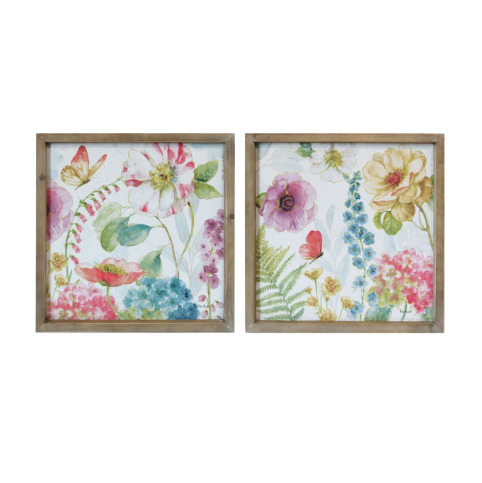 Floral Wooden Framed Canvas Prints – Set of 2