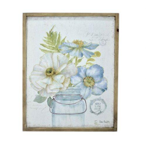 Flowers in Vase Wooden Framed Canvas Print