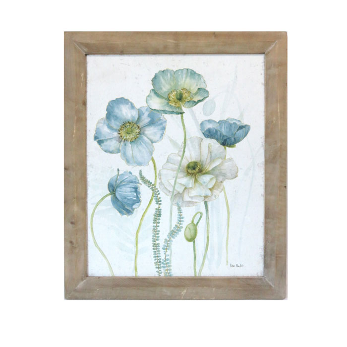 Blue & White Flowers Wooden Framed Canvas Print