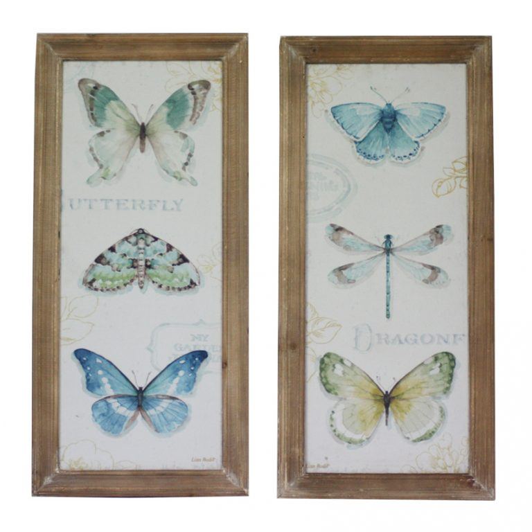 Wooden Framed Butterfly and Dragonfly Print