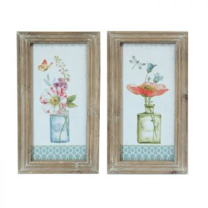 Flowers in Vases Wooden Framed Canvas Prints
