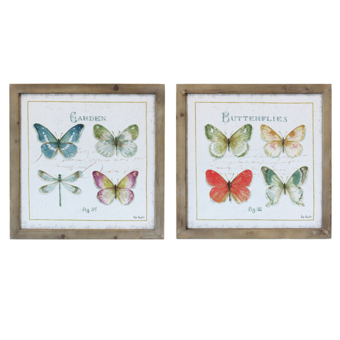 Set of 2 Square Butterfly & Dragonfly Wooden Framed Canvas Prints