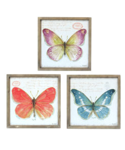 Set of 3 Square Beautiful Butterfly Wooden Framed Canvas Prints