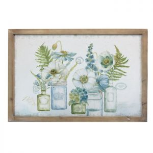 Flowers in Bottles and Jars Wooden Framed Canvas Prints