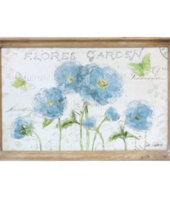 Floral Garden Wooden Framed Canvas Print