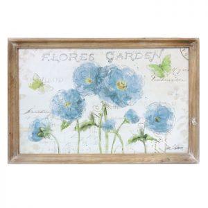 Floral Garden Wooden Framed Canvas Print