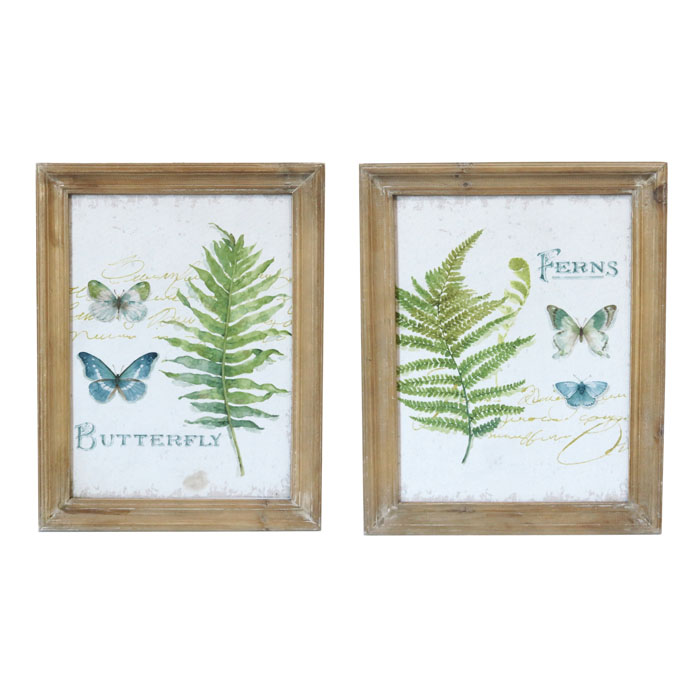 Set of 2 Fern & Butterflies Wooden Framed Canvas Prints