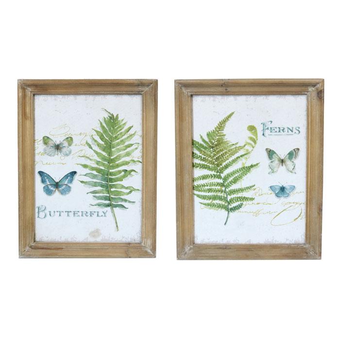Set of 2 Fern & Butterflies Wooden Framed Canvas Prints