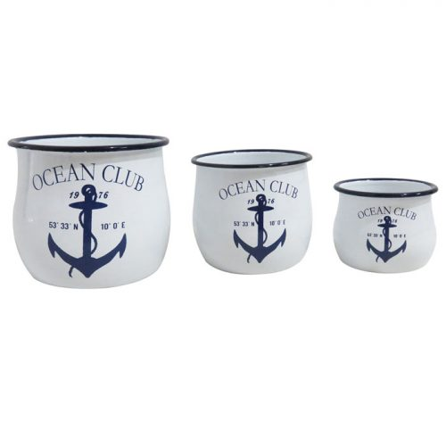 Set of 3 Enamel Ocean Club Pots