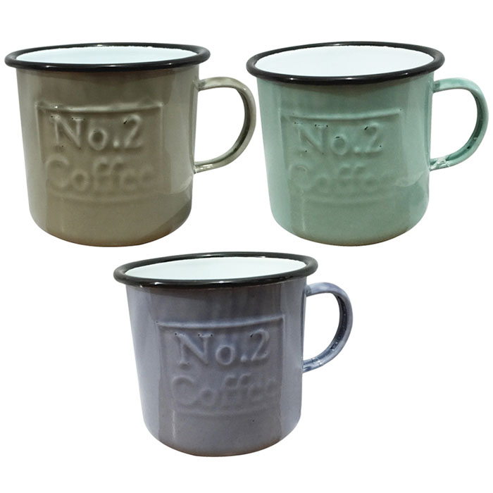 Set of 3 Enamel Coffee Mugs