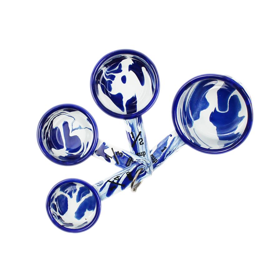 Set of 4 Blue & White Enamel Marble Effect Measuring Cups