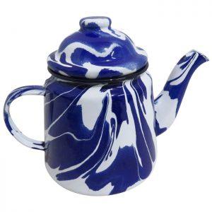 Blue & White Enamel Marble Effect Teapot