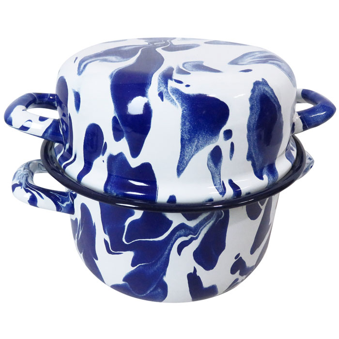 Set of 2 Blue & White Enamel Marble Effect Multi-pot