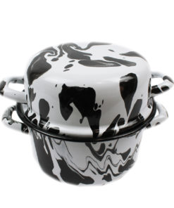 Black & White Enamel Marble Effect Multi-pot