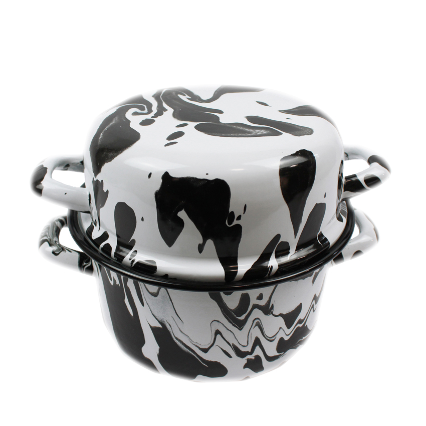 Black & White Enamel Marble Effect Multi-pot