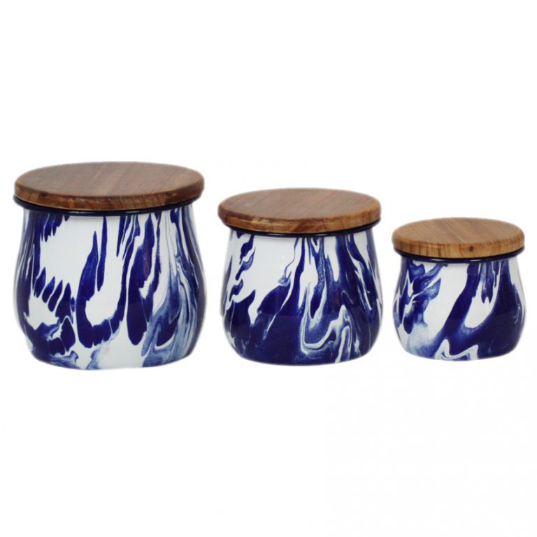 Set of 3 Blue & White Enamel Marble Effect Storage Containers
