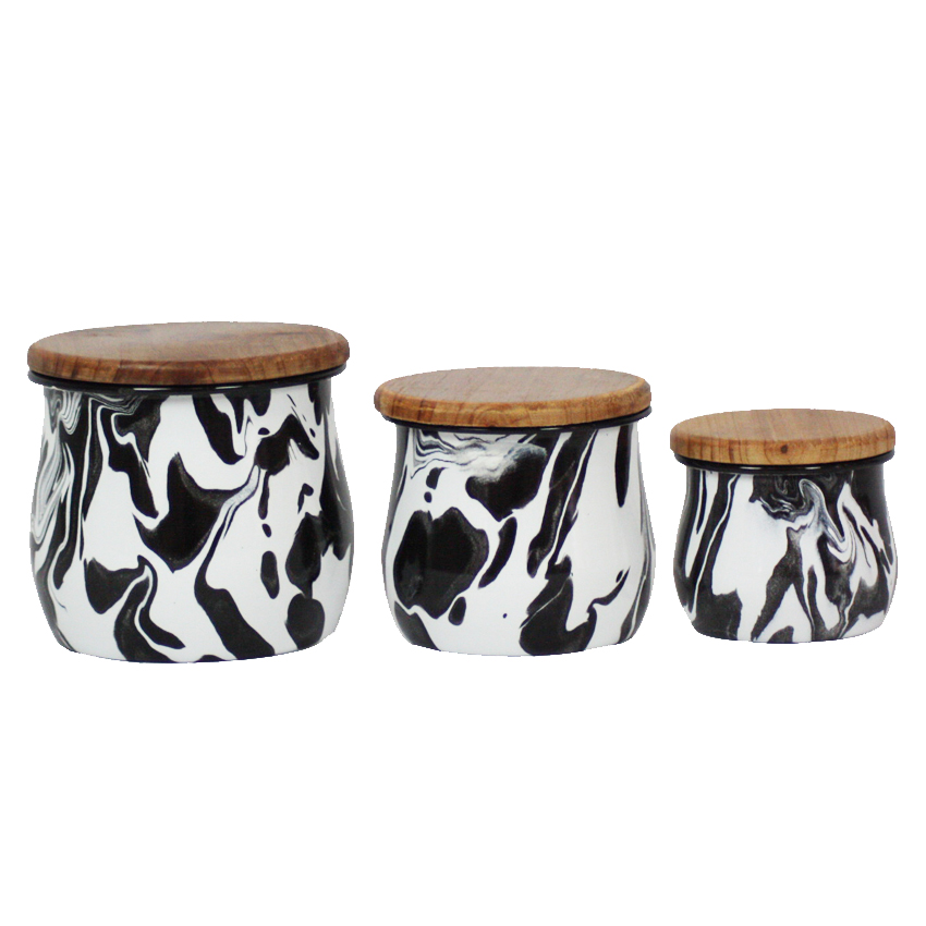 Set of 3 Black & White Enamel Marble Effect Storage Containers