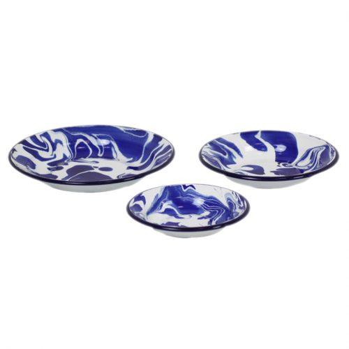 Set of 3 Blue & White Enamel Marble Effect Bowls