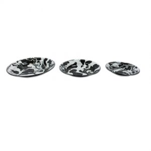 Set of 3 Black & White Enamel Marble Effect Bowls