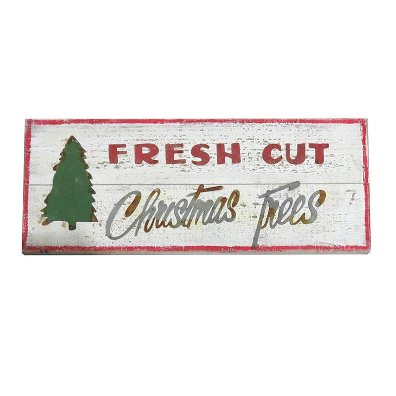 Fresh Cut Christmas Trees Sign.Fresh Cut Christmas Trees Wooden Sign Italics