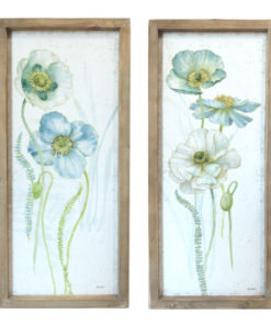 Wooden Framed Blue and White Flowers Canvas Print