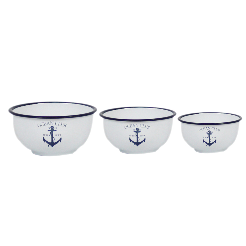 Set of 3 Enamel Ocean Club Bowls