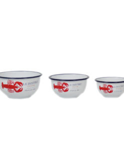 Set of 3 Enamel Lobster Print Bowls