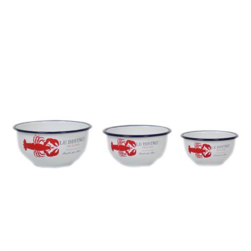 Set of 3 Enamel Lobster Print Bowls