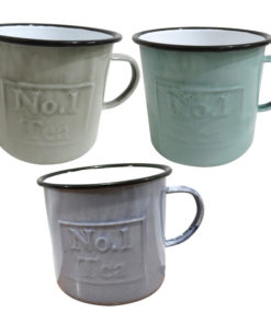 Set of 3 Enamel Tea Mugs