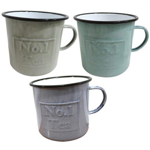 Set of 3 Enamel Tea Mugs