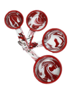 Set of 4 Red & White Enamel Marble Effect Measuring Cups