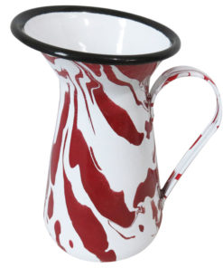 Red & White Enamel Marble Effect Jug