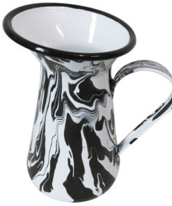 Black & White Enamel Marble Effect Jug