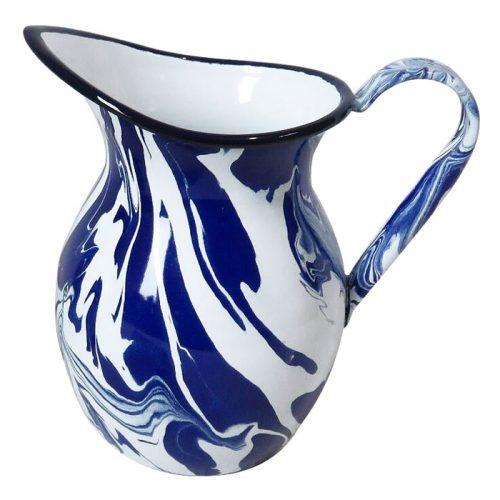 Blue & White Enamel Marble Effect Jug