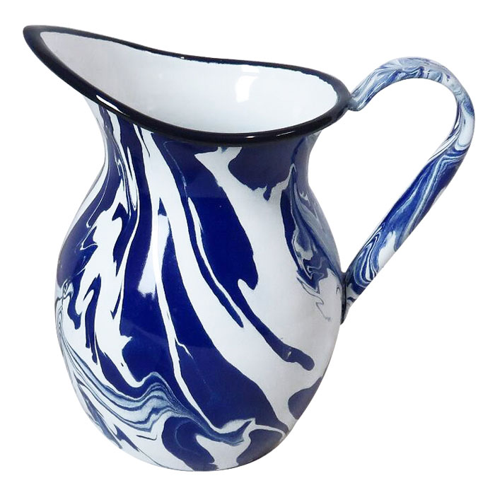 Blue & White Enamel Marble Effect Jug