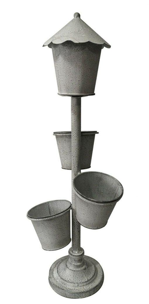 74cm Tall White Standing 3 Pot Garden Planter Flowers Decor Metal Chic Outdoor