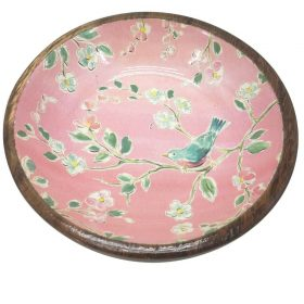 Small Painted Pink Wood Bowl Bird Flower Serving Fruit Food Keys Plate Dish