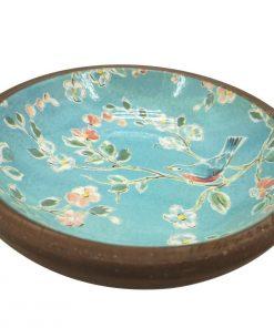Small Painted Blue Wood Bowl Bird Flower Serving Fruit Food Keys Plate Dish