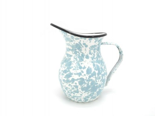 White & Blue Marble Pouring Jug Watering Pitcher Spout Home Garden Kitchen 1.2L
