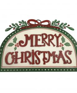 Handmade Wall Mountable Merry Christmas Sign Picture Red & Green Xmas